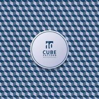 padrão abstrato do cubo 3d. Fundo e textura azuis geométricos 3D. vetor