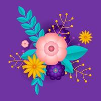 Ilustração em vetor floral papercraft 3D
