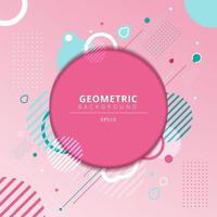 quadro de círculos geométricos abstratos com elementos de geometria azul claro em fundo rosa. vetor