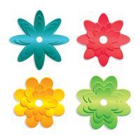 Vetor de papercraft floral 3d colorido