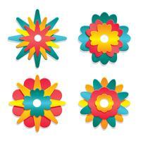 Vetor de coleção floral 3D papercraft