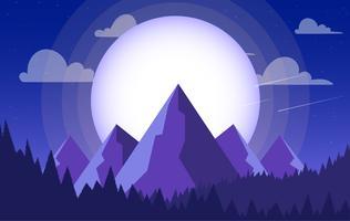 Ilustração de paisagem roxa colorida de vetor