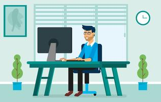 Ilustração de personagem de escritório de vetor