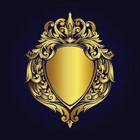luxo moldura dourada emblema ornamentos vintage estilo vetor
