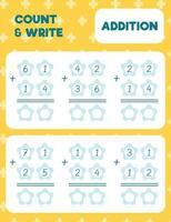 contar e escrever, adição vetor