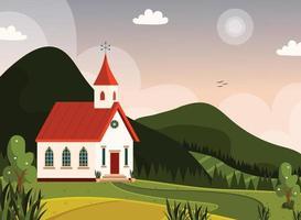 pôster de paisagem de igreja vetor