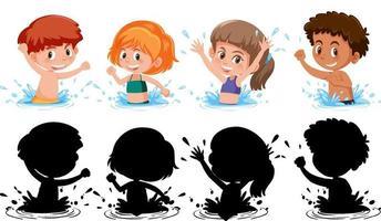 conjunto de personagens de desenhos animados de crianças diferentes na água em fundo branco vetor