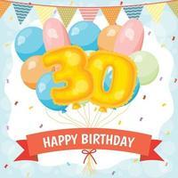 cartão de comemoração de feliz aniversário com número 30 balões vetor