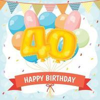 cartão de feliz aniversário com balões número 40 vetor