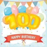 cartão de feliz aniversário com balões número 100 vetor