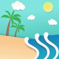 Ilustração em vetor praia Papercraft