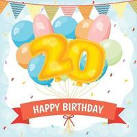 cartão de feliz aniversário com balões número 20 vetor