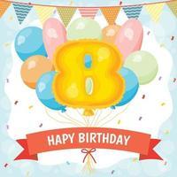 cartão de feliz aniversário com balão número 8 vetor