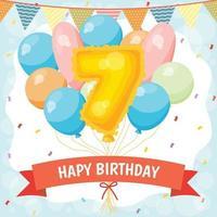cartão de feliz aniversário com balão número 7 vetor