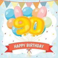 cartão de comemoração de feliz aniversário com número 90 balões vetor