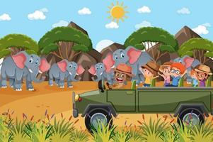 crianças em carro de turismo observando grupo de elefantes no zoológico vetor