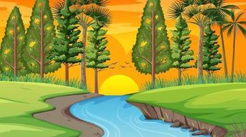 rio através da cena da floresta na hora do pôr do sol vetor