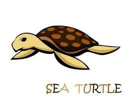 vetor de uma linda tartaruga marinha eps 10