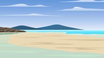 um cenário à beira-mar, praia de areia, rochas com uma ilha em frente. vetor