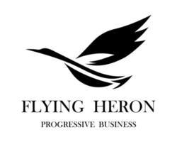 vetor de logotipo preto de uma garça voadora eps 10