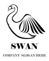 vetor do logotipo preto do cisne eps 10