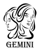 vetor de arte vetorial de linha do zodíaco gemini 10
