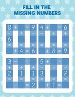 Complete os números que faltam vetor