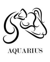 aquarius zodiac line art vector eps 10