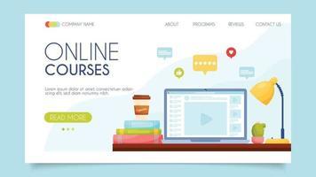 Cursos online. conceito de página de destino. design plano, ilustração vetorial. vetor