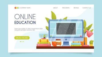 Educação online. conceito de página de destino. design plano, ilustração vetorial. vetor