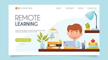 aprendizagem remota. conceito de página de destino. design plano, ilustração vetorial. vetor