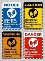 área de ruído perigosa, proteção auditiva necessária vetor