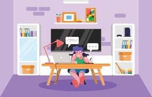 design gráfico trabalhando em casa no novo normal vetor