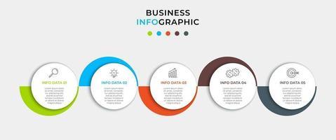 modelo mínimo de infográficos de negócios. linha do tempo com 5 etapas, opções e ícones de marketing. Infográfico linear de vetor com dois elementos de círculo conectado. pode ser usado para apresentação