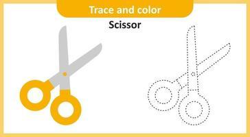 traço e tesoura colorida vetor
