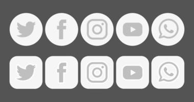 conjunto de ícones de mídia social de logotipo de design de vetor