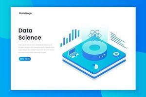 página de destino isométrica da tecnologia da ciência de dados vetor