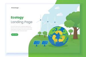 página de destino ecológica plana vetor