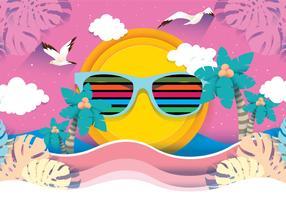 Vetor de fundo rosa praia Papercraft