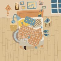 uma bagunça no quarto. vista superior interior em estilo simples. quarto aconchegante com cama. dormindo confortavelmente. vetor. vetor
