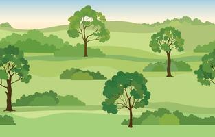 fundo de paisagem rural. vista do horizonte do parque natural de verão sem costura. padrão de horizonte panorâmico de árvores de jardim vetor