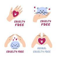 pacote de emblemas livres de crueldade. mão desenhada coleção de rótulos de proibição de testes em animais. não testado em animais, conceito cosmético vegan. ilustração vetorial. vetor