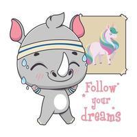 lindo rinoceronte engraçado se preparando para realizar seus sonhos vetor