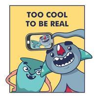 dois monstros felizes fazendo uma selfie vetor