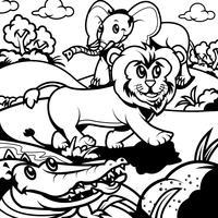 Animais de livro para colorir 3 vetor