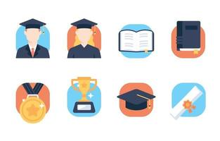 conjunto de ícones planos de graduação vetor