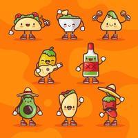 personagens da comida mexicana em cinco de mayo vetor