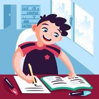 menino estudando em casa conceito vetor