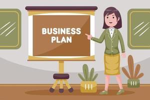 empresária fazendo apresentação sobre o plano de negócios da empresa vetor