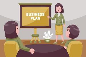 empresária levando reunião na mesa da sala de reuniões. vetor